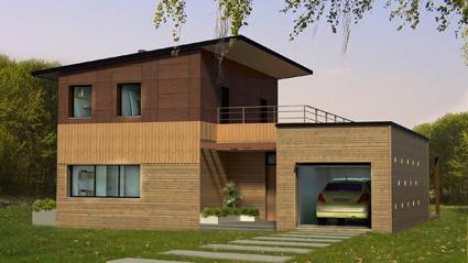 Maison moderniste bois : Façade Nord