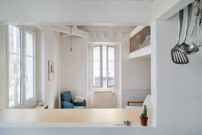 Rénovation d'un appartement duplex : 04 Cuisine vers salon