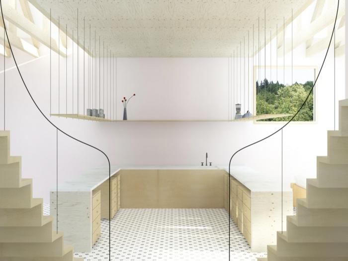 Transformation d'une grange en habitation, transformation de la toiture : AUGEROLLES cuisine moins jaune