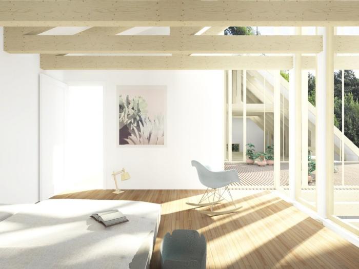 Transformation d'une grange en habitation, transformation de la toiture : AUGEROLLES chambre 2 lumie?re