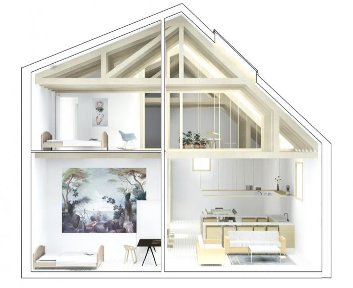 Transformation d'une grange en habitation, transformation de la toiture : COUPE TRANSV 1 lumie?re