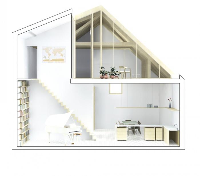 Transformation d'une grange en habitation, transformation de la toiture : COUPE TRANSV 2 lumie?re
