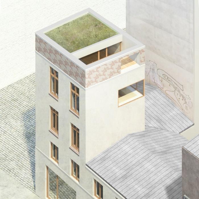 Surélévation d'un immeuble d'angle : Arrie?re redresse?