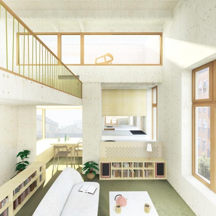 Surélévation d'un immeuble d'angle : 1 double hauteur B2TON tumblr fond canap LUMIERE 2