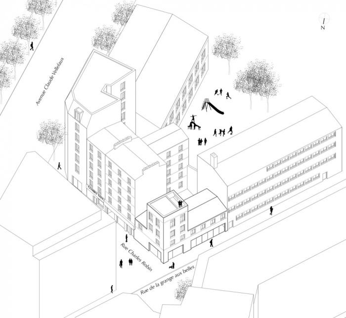 Surélévation d'un immeuble d'angle : AXO EXTENSION
