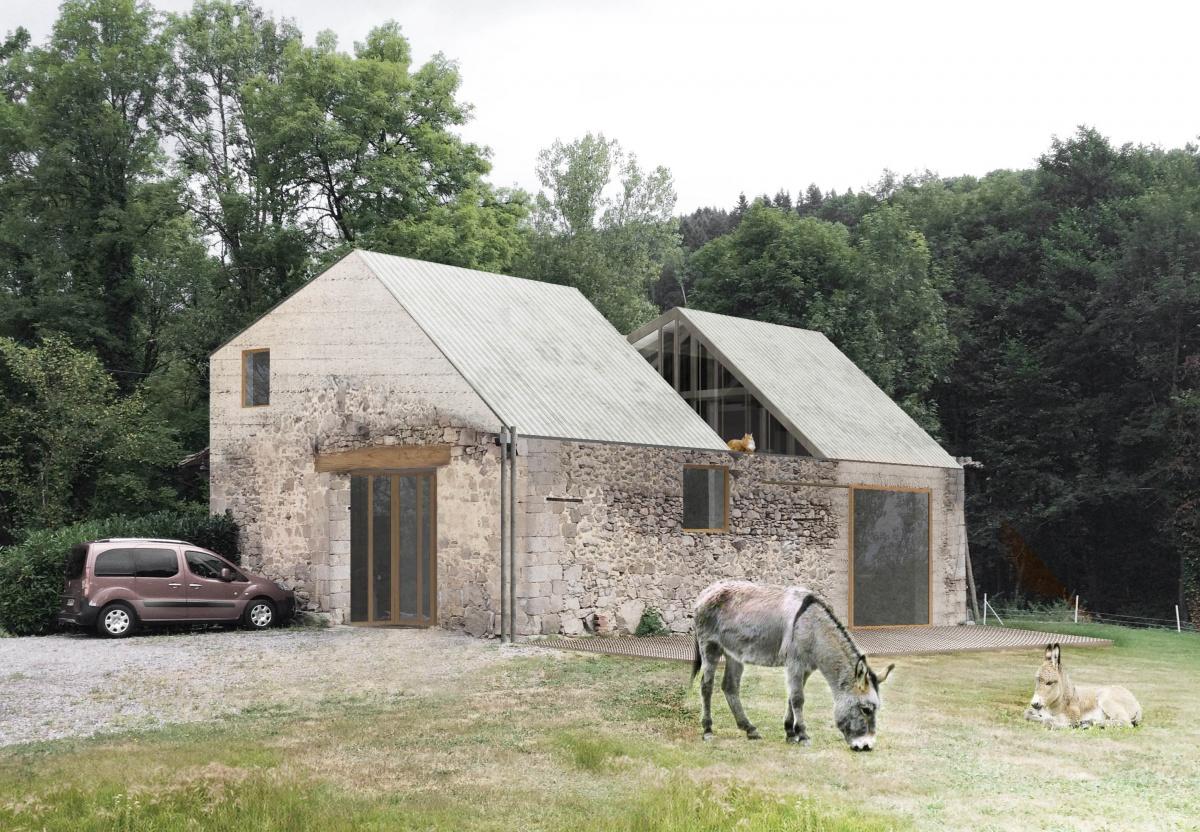 Transformation d'une grange en habitation, transformation de la toiture : Exte?rieur finale light