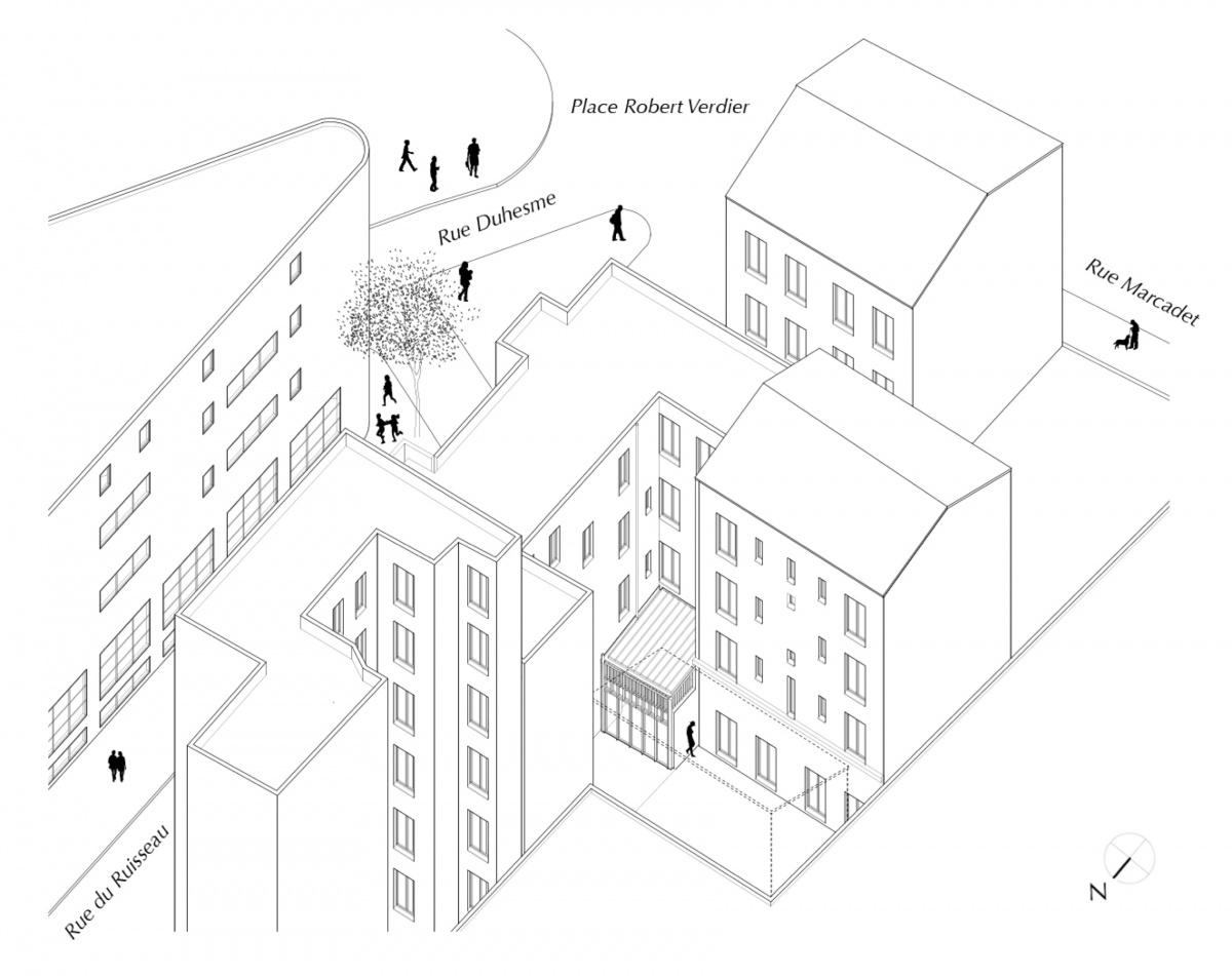 Extension et rénovation d'un appartement sur une cour d'immeuble : RUISSEAU axo