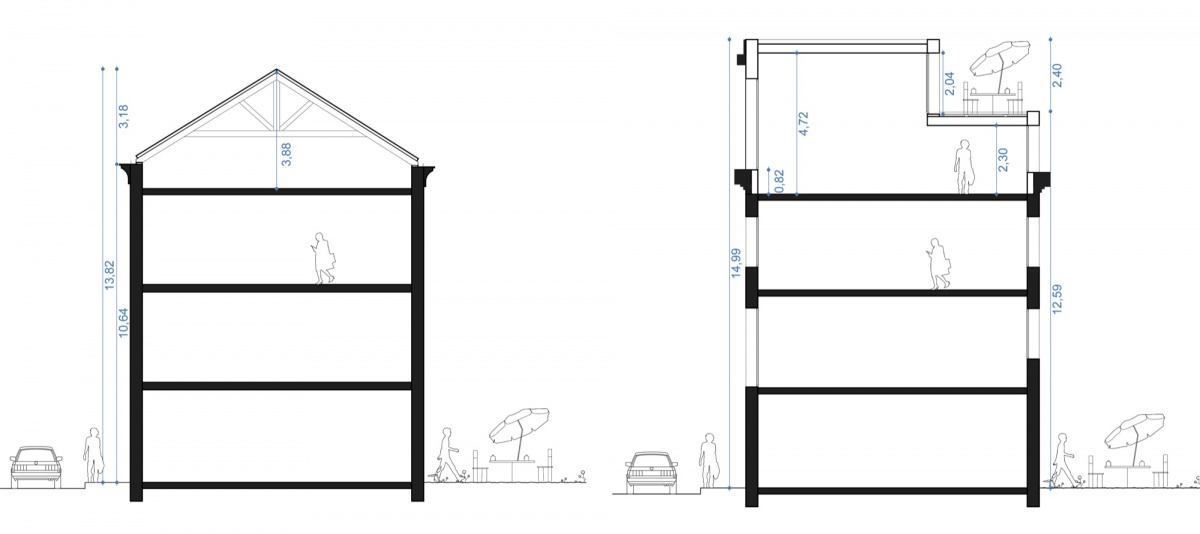 Surélévation pour création d'un duplex avec terrasse : SAINT OUEN coupes