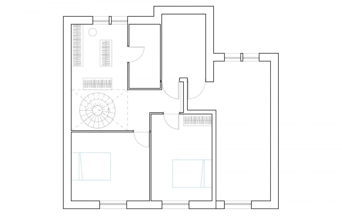 Surélévation pour création d'un duplex avec terrasse : SAINT OUEN plan niveau bas