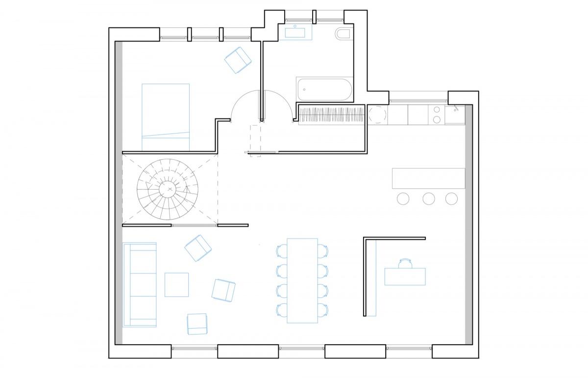 Surélévation pour création d'un duplex avec terrasse : SAINT OUEN plan niveau haut